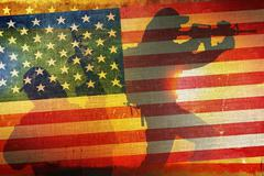 American Army Flag Concept with Soldier Silhouettes. US Army. Kuvituskuvat