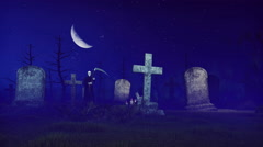 Grim reaper at spooky night cemetery 4K Stock Footage