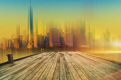 Deck to the Future. Wooden Deck and the Large City Skyline Abstract Concept. Stock Photos