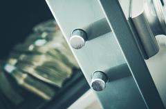 Money in the Residential Safe Box Closeup Photo. Cash Money Safe Deposit. Stock Photos
