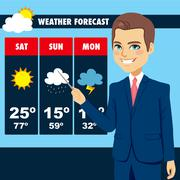 TV News Weather Reporter Man Stock Illustration