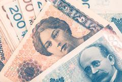 Norwegian Krones Cash Money Closeup Photo Stock Photos