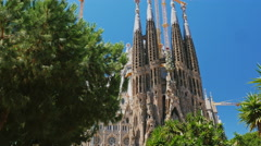 Popular among tourists from all over the world place - the temple of the Sagrada Stock Footage