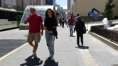 People walking around the Brigadeiro Station in Paulista Avenue, Brazil Stock Footage