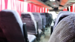 Bus travel empty seats in  cabin Stock Footage