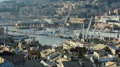 A view of Genoa including the aquarium from a rooftop Stock Footage