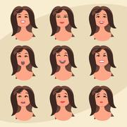 Set of woman's emotions. Facial expression. Girl Avatar. Vector illustration in Stock Illustration