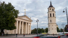 Illuminated Cathedral of Vilnius, Lithuania. Time-lapse of sunset Stock Footage