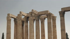 Panning shot of the columns of the temple of zeus in athens, greece Stock Footage