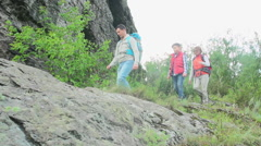 Family on Trekking Trip Stock Footage