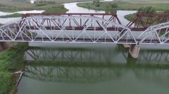 Two railway bridges flight Stock Footage
