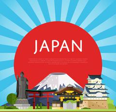 Japan travel concept with famous asian buildings Stock Illustration