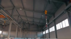 Steel Pipes bunch on the rack in warehouse. Modern stock of Equipment on sunset Stock Footage