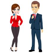 Male Female News Reporter Stock Illustration
