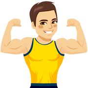 Muscular Man Biceps Stock Illustration
