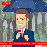 Raining Weather News Reporter Stock Illustration