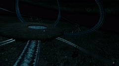 Sci fi scene rolling spheres in a cave. Fantasy animation 3d render illustration Stock Footage