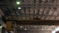 Factory overhead crane inside a factory building Stock Footage