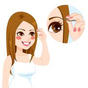 Depilating Eyebrow Woman Stock Illustration