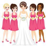 Bride And Bridesmaid Stock Illustration