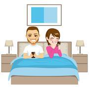 Couple Mobile Addiction Stock Illustration