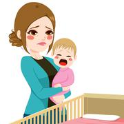 Sleepy Mother Consoling Baby Crying Stock Illustration