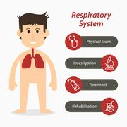Respiratory system and medical line icon Stock Illustration