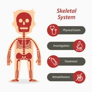 Skeletal system and medical line icon Stock Illustration