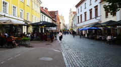 Famous Pilies street in Vilnius during the day. Time-lapse of people Stock Footage
