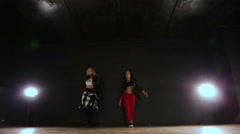 Two girls dancing hip hop, workout Stock Footage