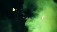Breathtaking Fire Performance at Night Stock Footage