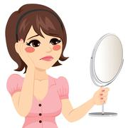 Sad Mirror Woman Stock Illustration