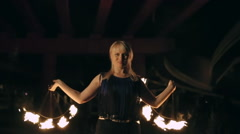 Fire Fan Dance Stock Footage