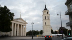 Blurred Cathedral in Vilnius, Lithuania Stock Footage