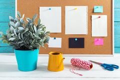Home decor diy with tools and bulletin board with notepad Stock Photos