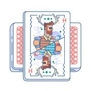 Hipster on playing card Stock Illustration