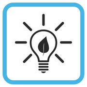 Eco Light Bulb Vector Icon In a Frame Stock Illustration