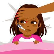 Girl Ill In Bed Stock Illustration