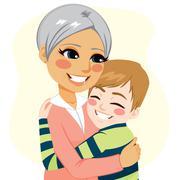 Boy hugging Grandmother Stock Illustration