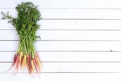 Bundle of whole carrots over white paneling Stock Photos
