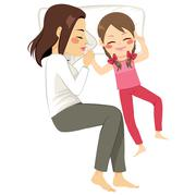 Mother Daughter Sleeping Bed Stock Illustration