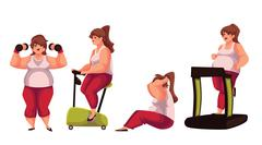 Fat woman doing sport exercises isolated on white background Stock Illustration
