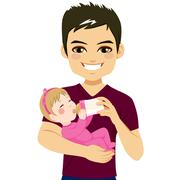 Father Happy Feeding Daughter Stock Illustration