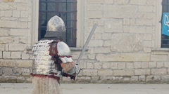 Fighting knights. Outdoor, in front of castle Stock Footage