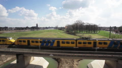 NS Train in Holland Aerial shot with Drone Stock Footage