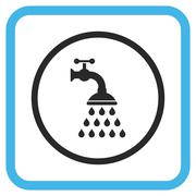 Shower Tap Vector Icon In a Frame Stock Illustration