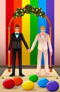 Gay Couple Wedding Stock Illustration