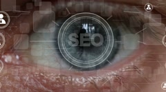 Business button SEO service network security interface retina eye imprint Stock Footage