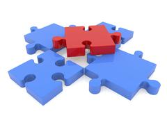 Puzzle pieces in red and blue colors on white Stock Illustration