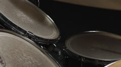 Close up view of drumsticks beating drum Slow motion Stock Footage